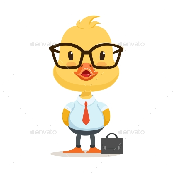 Little Cartoon Duckling Character Wearing Glasses - Animals Characters