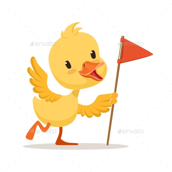 Yellow Cartoon Duckling Holding Red Flag - Animals Characters