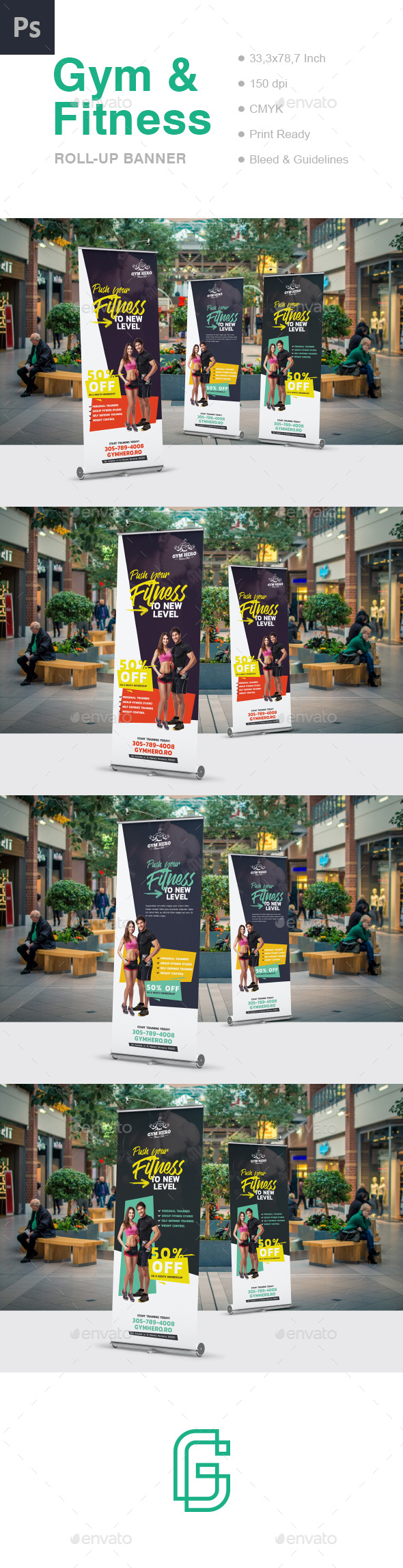Gym Roll-Up Banner - Signage Print Templates