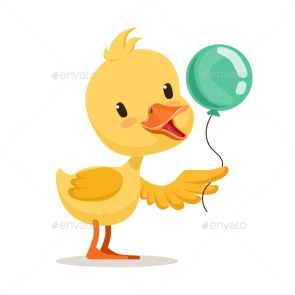 Little Cartoon Duckling Character Holding Balloon - Animals Characters