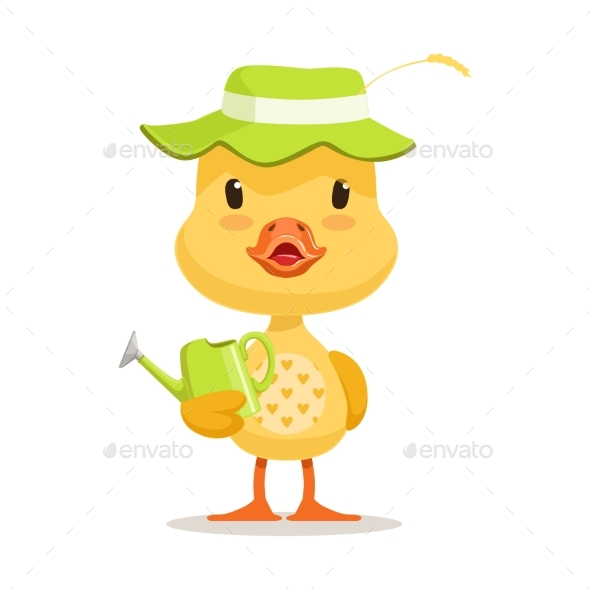 Cartoon Duckling Wearing Green Hat - Animals Characters