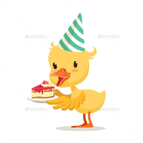 Little Cartoon Duckling in a Party Hat - Animals Characters