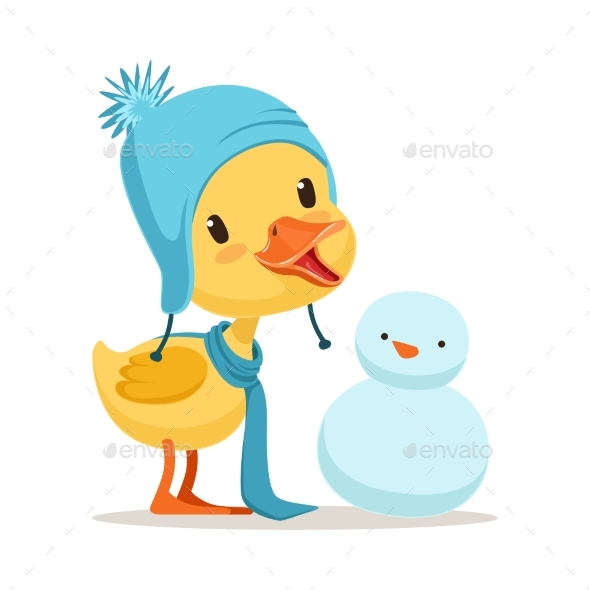 Yellow Duck Chick Wearing Blue Knitted Hat - Animals Characters