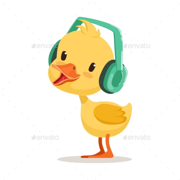 Yellow Duck Chick Listening To Music - Animals Characters