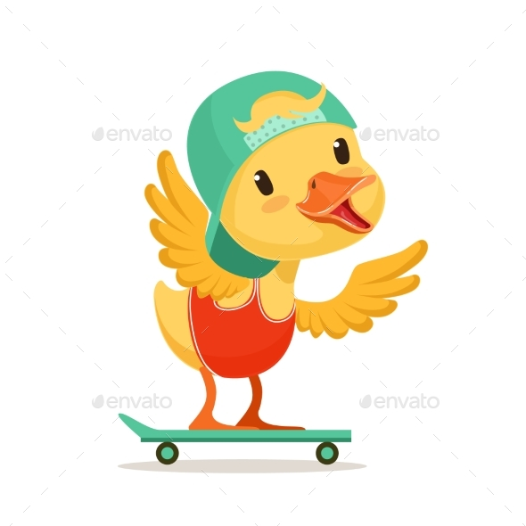Yellow Duck Chick in Blue Cap Skateboarding - Animals Characters