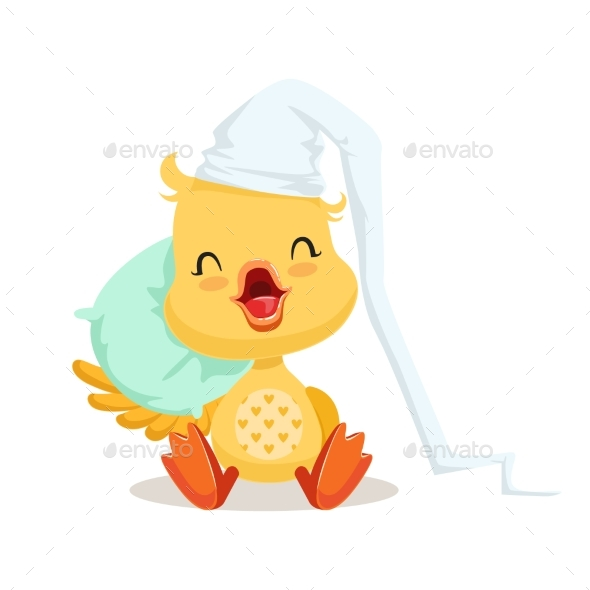 Sweet Yellow Duckling Sleeping on a Pillow - Animals Characters