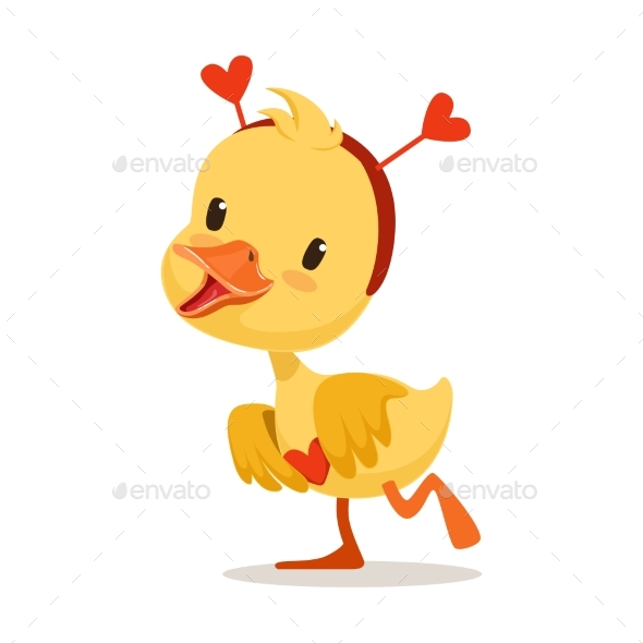 Yellow Duckling in a Red Headband with Hearts - Animals Characters