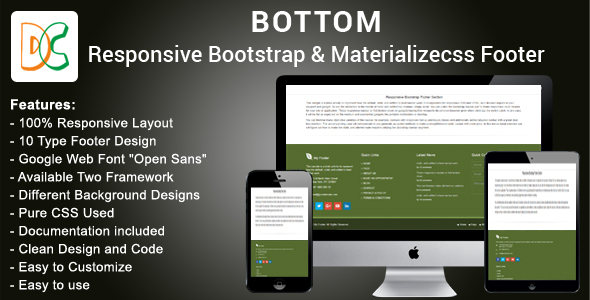 Bottom - Responsive HTML Bootstrap and Materializecss Footer