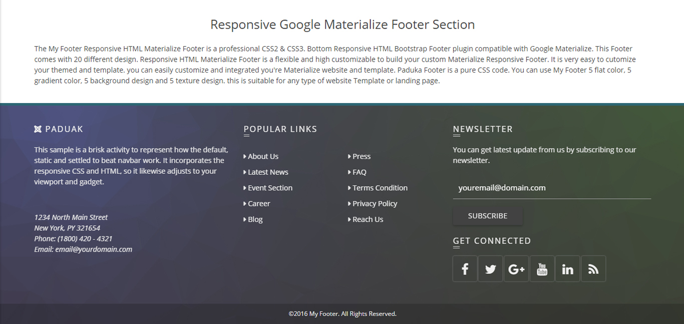 Bottom - Responsive HTML Bootstrap and Materializecss Footer by ...