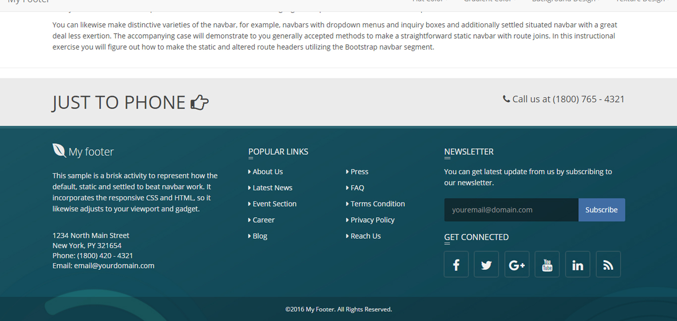 Bottom Responsive Html Bootstrap And Materializecss Footer By