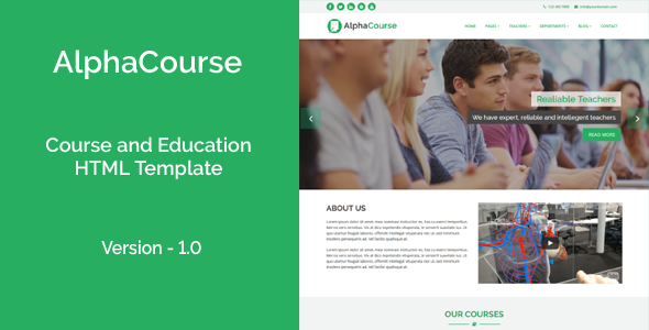 AlphaCourse - College, Course and Education HTML Template