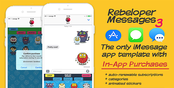 Rebeloper Messages - iMessage App in Swift 3, iOS 10 - CodeCanyon Item for Sale