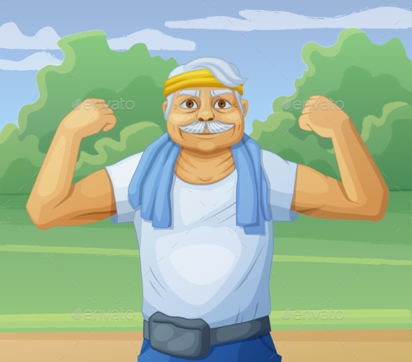 Senior Man Doing Sport Morning Exercises in Park - People Characters