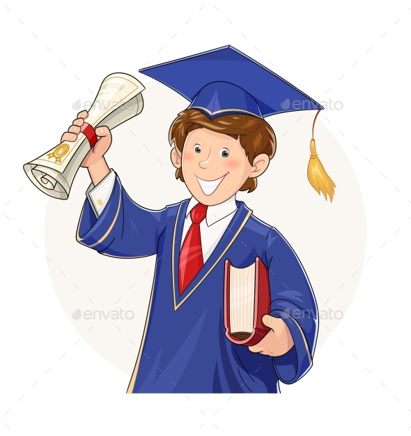 Student in Graduate Suit with Diploma and Book - People Characters