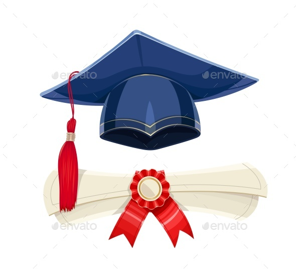 Blue Academicic Graduation Cap and Diploma Scroll - Miscellaneous Conceptual