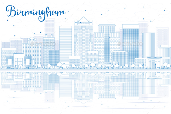 Outline Birmingham Skyline with Blue Buildings and Reflections - Buildings Objects