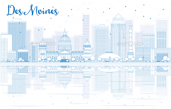 Outline Des Moines Skyline with Blue Buildings and Reflections - Buildings Objects