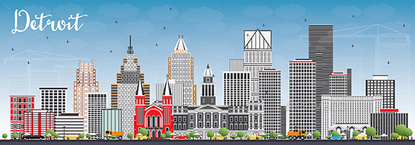 Detroit Skyline with Gray Buildings and Blue Sky - Buildings Objects