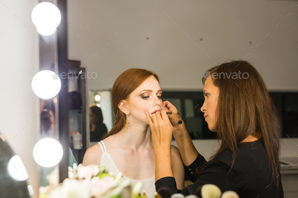 Process of making makeup. Make-up artist working - Stock Photo - Images