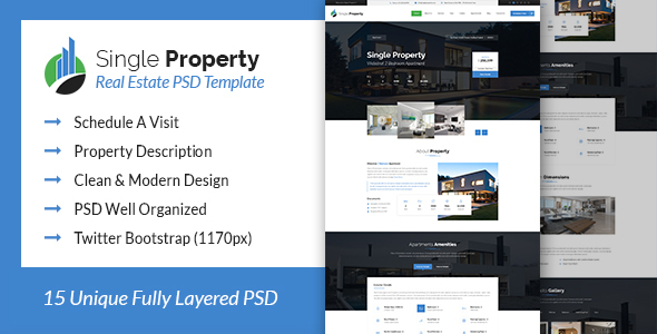 Single Property - Real Estate PSD Template - Business Corporate