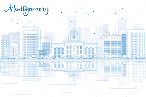 Outline Montgomery Skyline with Blue Buildings and Reflections - Buildings Objects