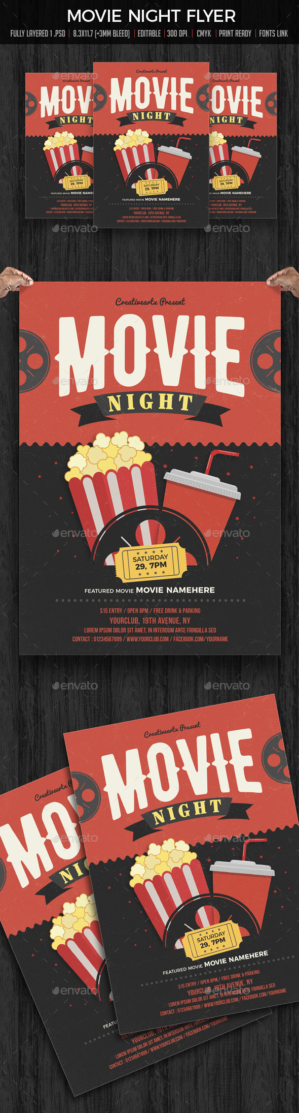 Movie Night / Movie Time Flyer - Flyers Print Templates