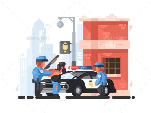 Police Station and Patrol with Detainee - Miscellaneous Vectors