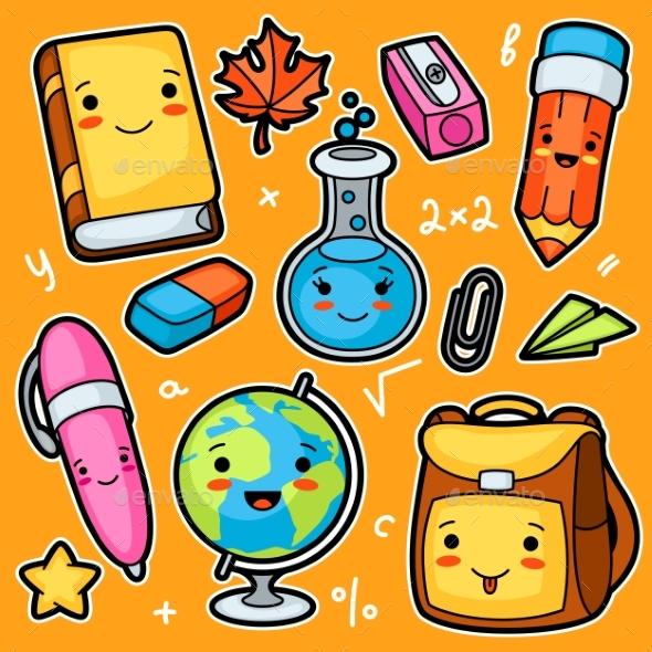 Kawaii School and Education Cute Supplies - Miscellaneous Vectors
