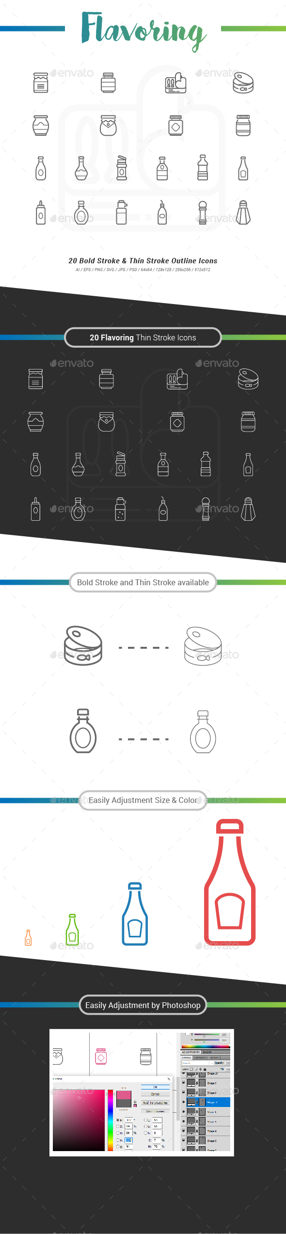 20 Flavoring Outline Stroke Icons - Food Objects