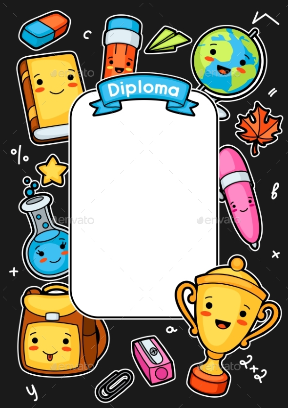 Kawaii School Diploma with Education Supplies - Miscellaneous Vectors