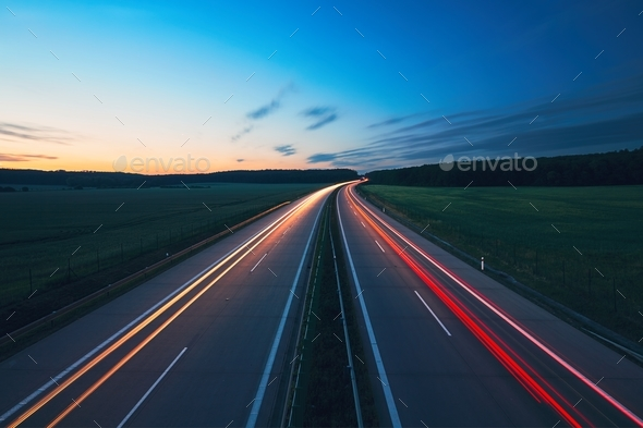 Sunrise on the highway - Stock Photo - Images