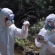 Two Ecological Workers in Biohazard Suits Sampling Water