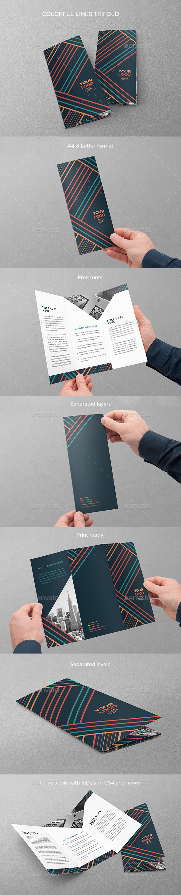 Colorful Lines Trifold - Brochures Print Templates