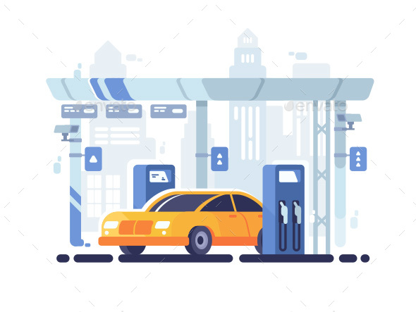 Car Fueled at Gas Station - Man-made Objects Objects