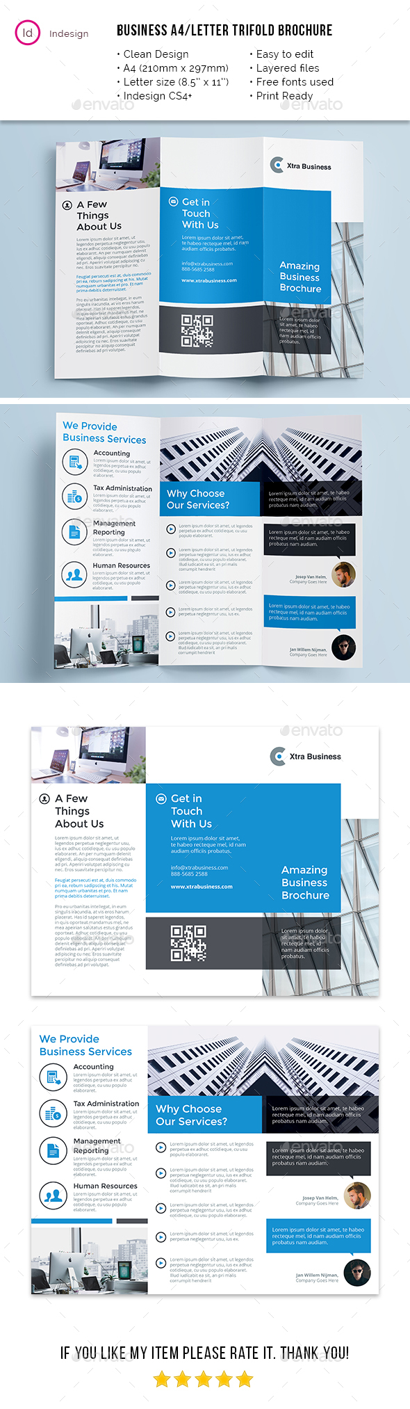 Clean Business A4 / Letter Trifold - Corporate Brochures