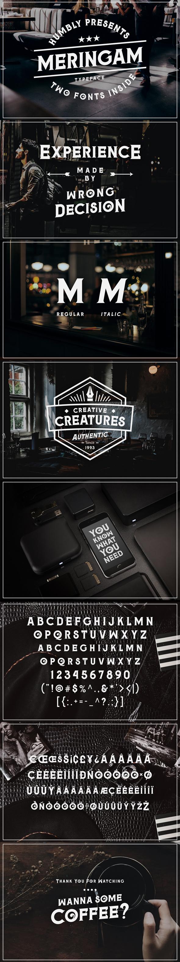 Meringam Typeface - Futuristic Decorative