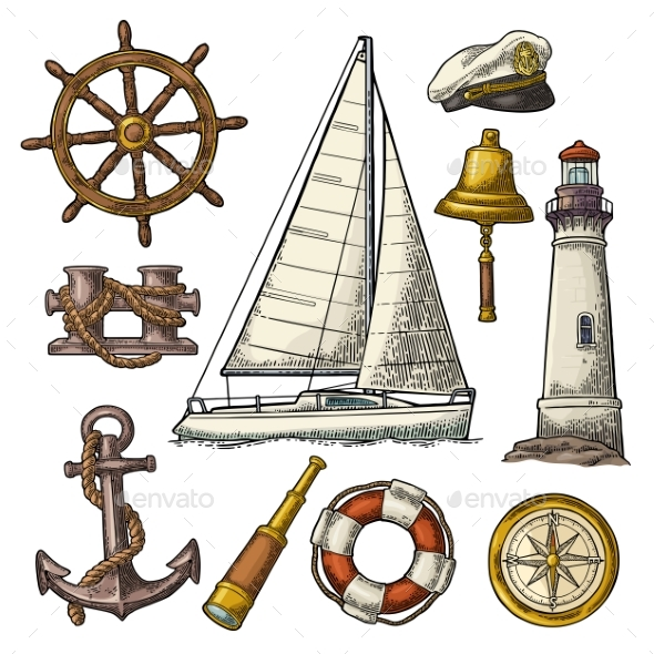 Anchor, Wheel, Sailing Ship and Compass Rose - Miscellaneous Vectors