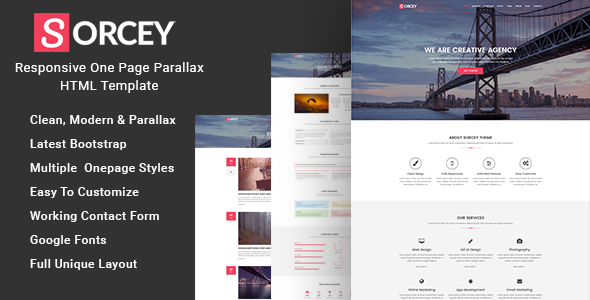 Sorcey – Responsive One Page Parallax HTML Template