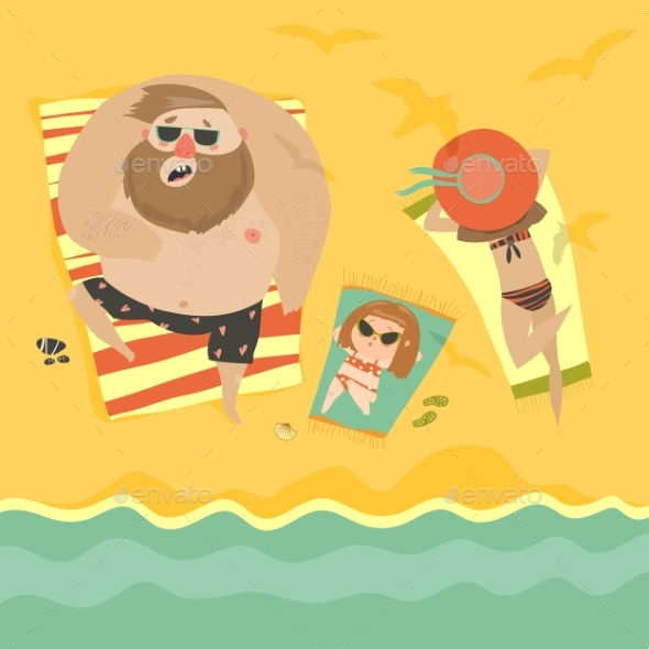 Happy Family at the Seaside - People Characters