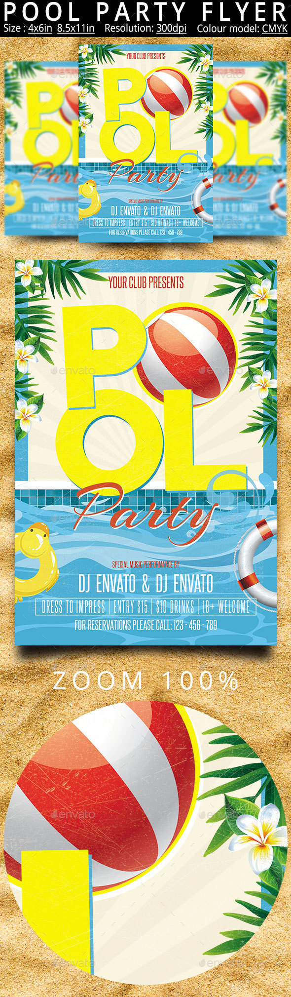 Pool Party Flyer Poster - Clubs & Parties Events