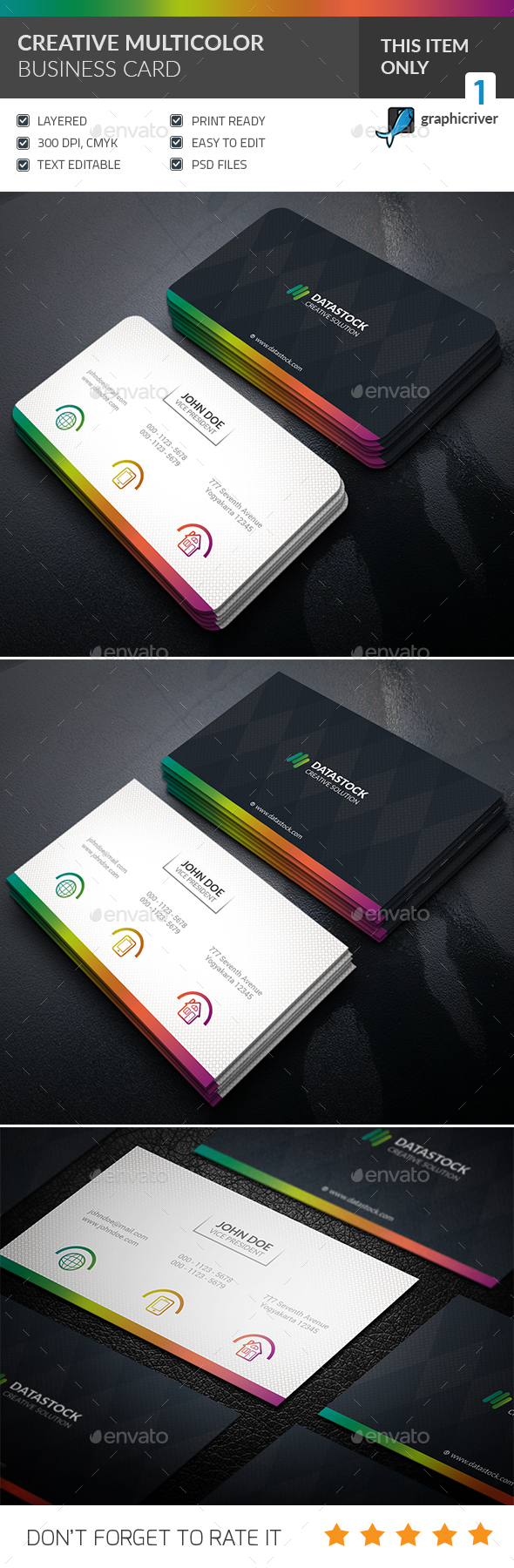 Multicolor Corporate Business Card - Corporate Business Cards
