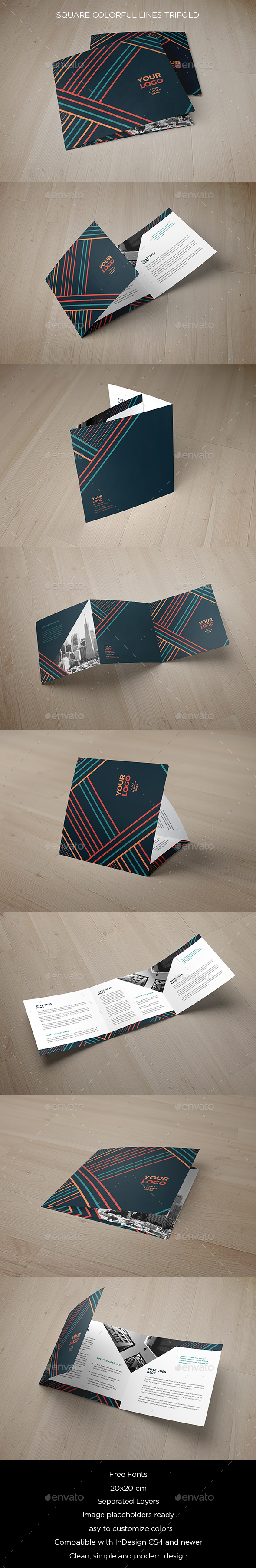 Square Colorful Lines Trifold - Brochures Print Templates