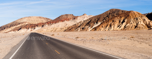 Panoramic View Open Road Death Valley National Park Highway - Stock Photo - Images