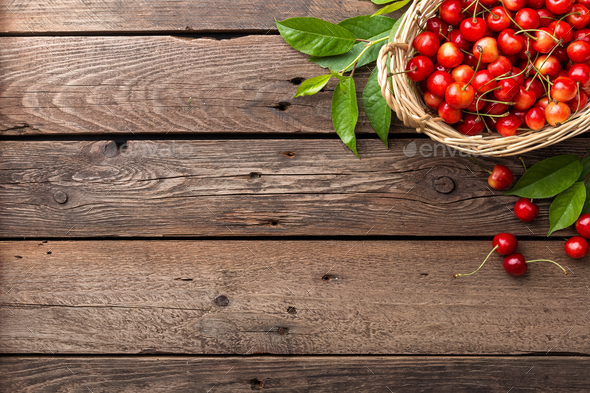 Sweet cherry in basket - Stock Photo - Images