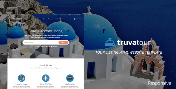 TruvaTour Responsive Travel Directory Listing Template - Travel Retail