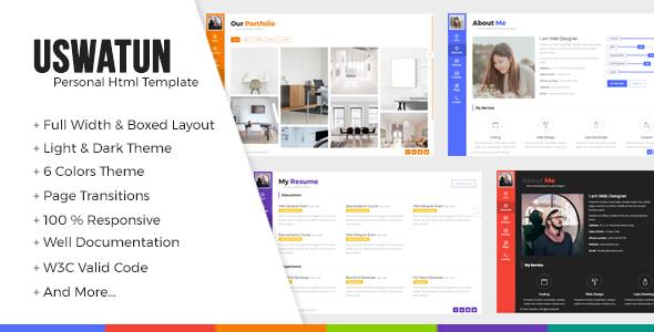 Uswatun – Personal Resume/CV/Portfolio HTML Template