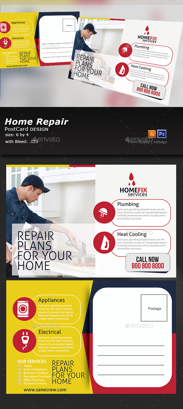 Home Repair Postcard Template - Cards & Invites Print Templates