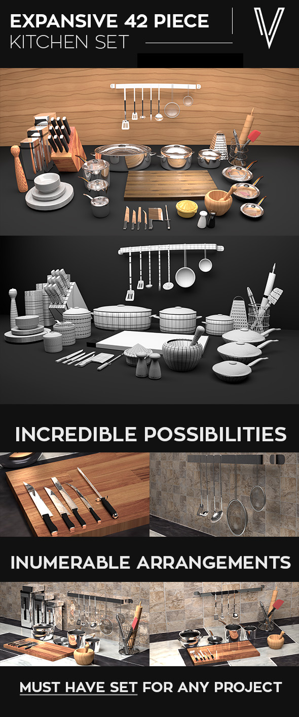 42 Piece Kitchen Set - 3DOcean Item for Sale