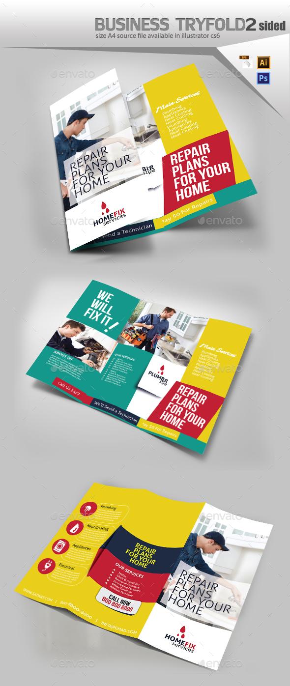 Home Repair Tri Fold Template - Brochures Print Templates