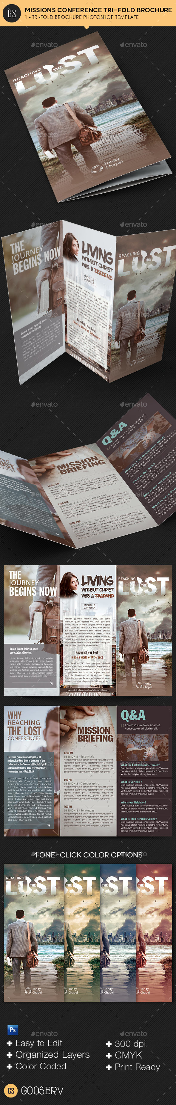 Missions Conference Tri-Fold Brochure Template - Informational Brochures